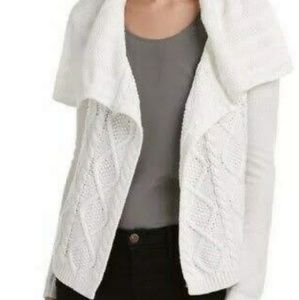 Cabi white chunky cable knit cardigan sweater